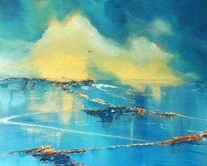 A seascape of the luminescence of the waters around Mijas in Spain by artist Elizabeth Williams