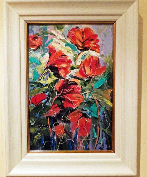 July Dressed Up - Framed oil painting of flowers by Elizabeth Williams
