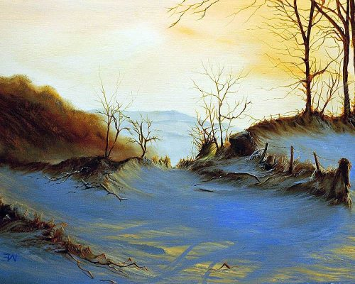 landscaps of snow with shadows painted in oil