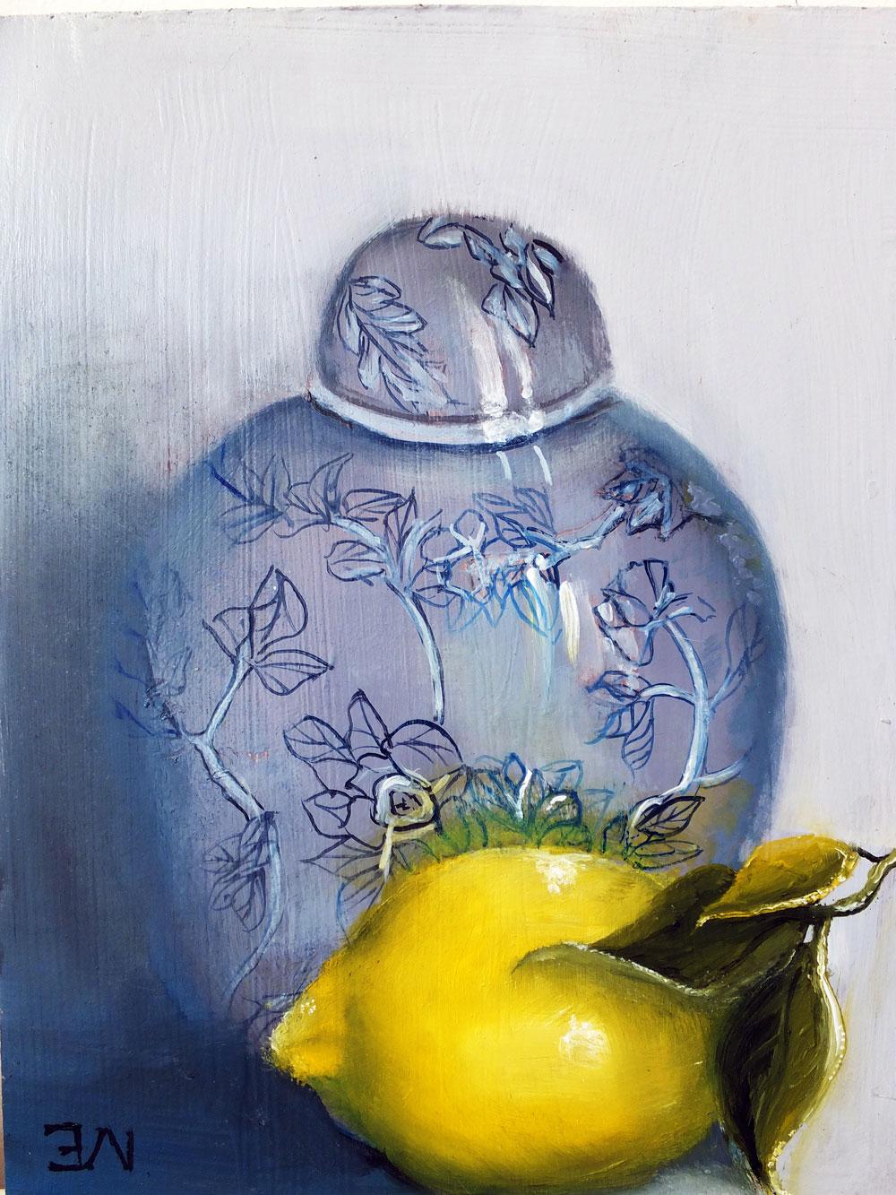 Ginger Jar And Lemon by Elizabeth Williams