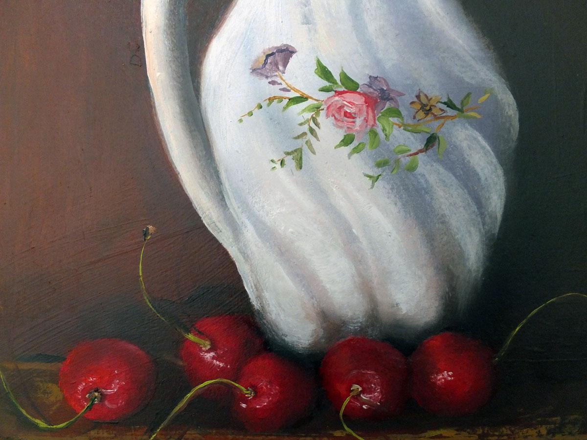 Jug and cherries detail
