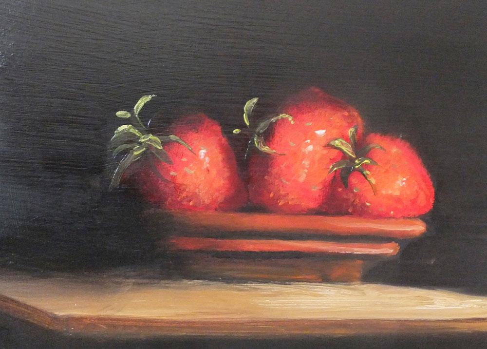Just Strawberries - Oil Painting by Elizabeth Williams