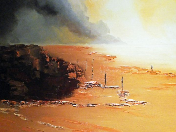 Drifting Sands. The shimmering sands in golden colours of burnt sienna and burnished browns, sculptured texturing in oils on deep sided canvas by Elizabeth Williams.