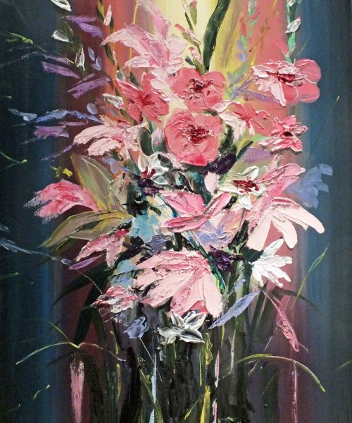Love Celia. A vase of Gladioli and Lilies, deeply textured and vibrantly colourful. Oil on box canvas painting by Elizabeth Williams