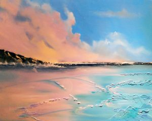 Awakening. A vibrant seascape as the day ends with the sunset reflected in the bay. Painted by Elizabeth Williams in oils on deep sided box canvas.