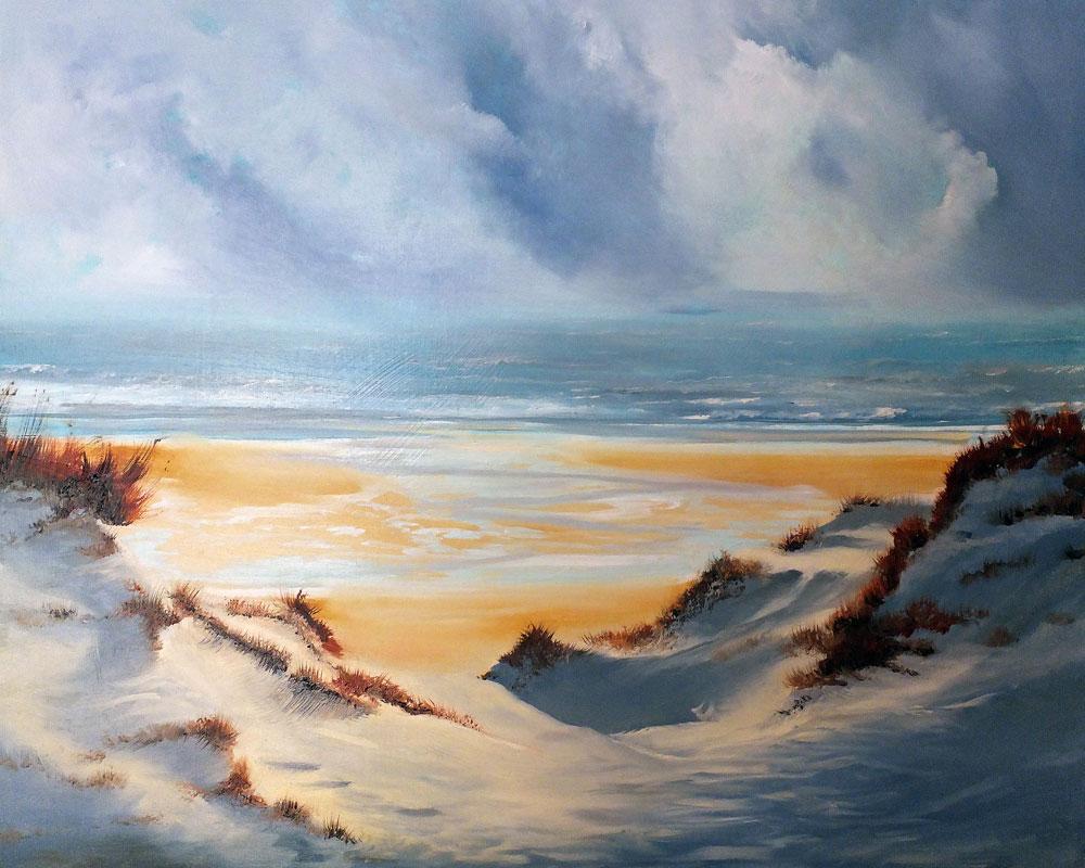 Sandbanks, Poole. Oil on wood panel. Dorset seascape by Elizabeth Williams.