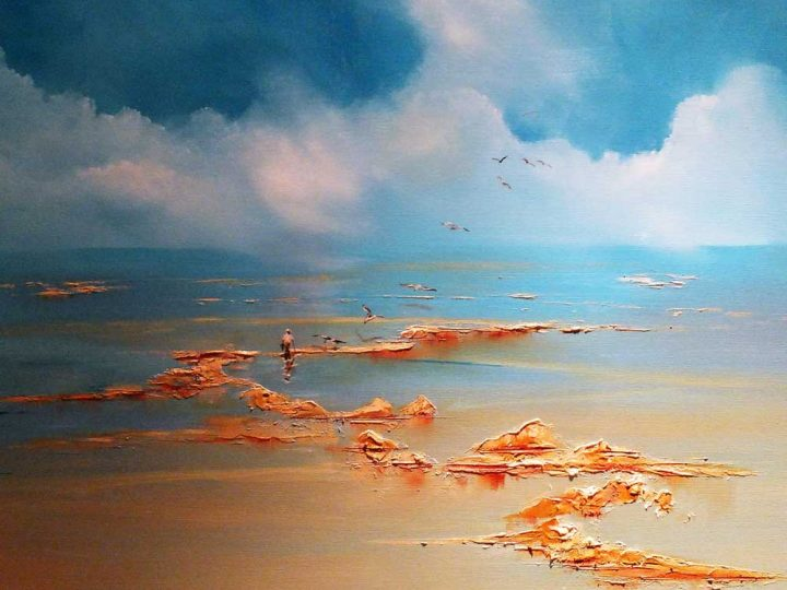 Oil painting on box canvas, Cupboard Love, Seascape by Elizabeth Williams.
