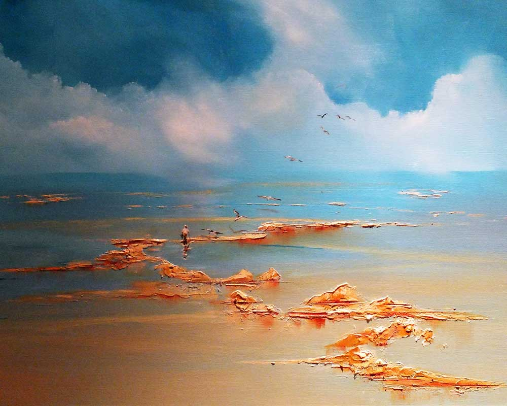 Oil painting on box canvas, After The Catch - Cupboard Love, Seascape by Elizabeth Williams.
