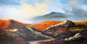 On Bodmin Moor. Landscape painting by Elizabeth Williams. Oil painted on panel in luscious autumn colours.