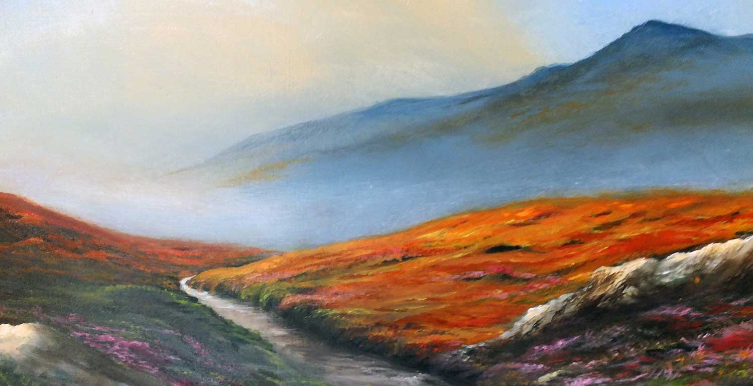 On Bodmin Moor. Detail of landscape oil painting on panel in luscious autumn colours. Artist Elizabeth Williams.