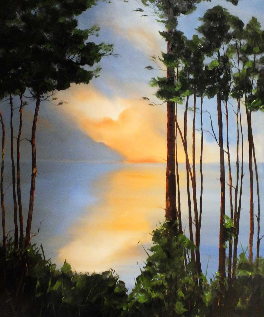 Pines Trees at Branksome. Oil on box canvas.