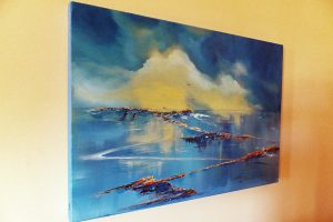 Luminescence (in situ) oil by Elizabeth Williams. A large seascape painting on deep sided quality boxed canvas.