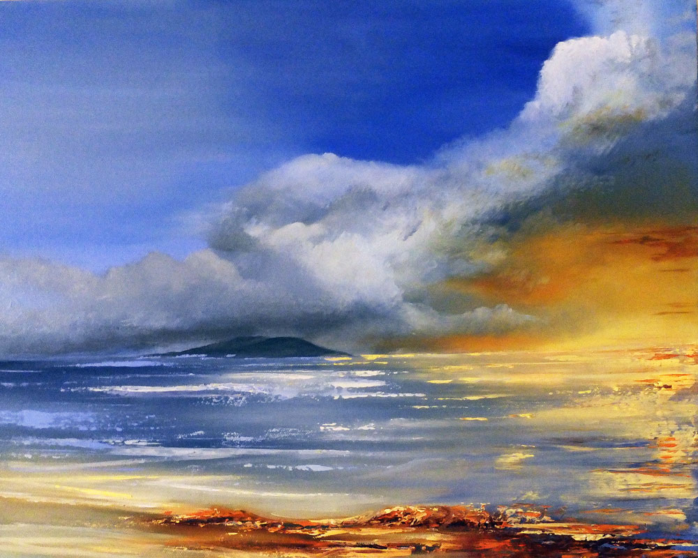 Oil on canvas seascape painting by Elizabeth Williams A sky that will bring rain after another amazing sunset in Mijas.