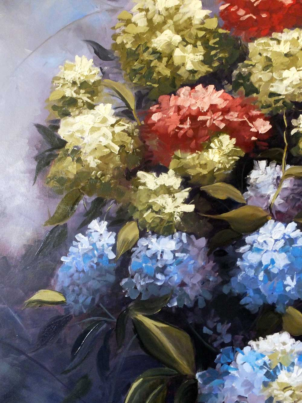 Hydrangeas - oil painting (detail).
