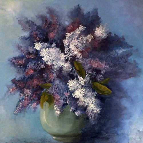 Lilacs in a Blue Bowl. Oil on wood panel.
