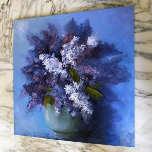 Lilacs in a Bowl - oil painting by Elizabeth Williams