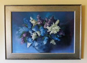 Lilacs in a Flowered Bowl - Framed