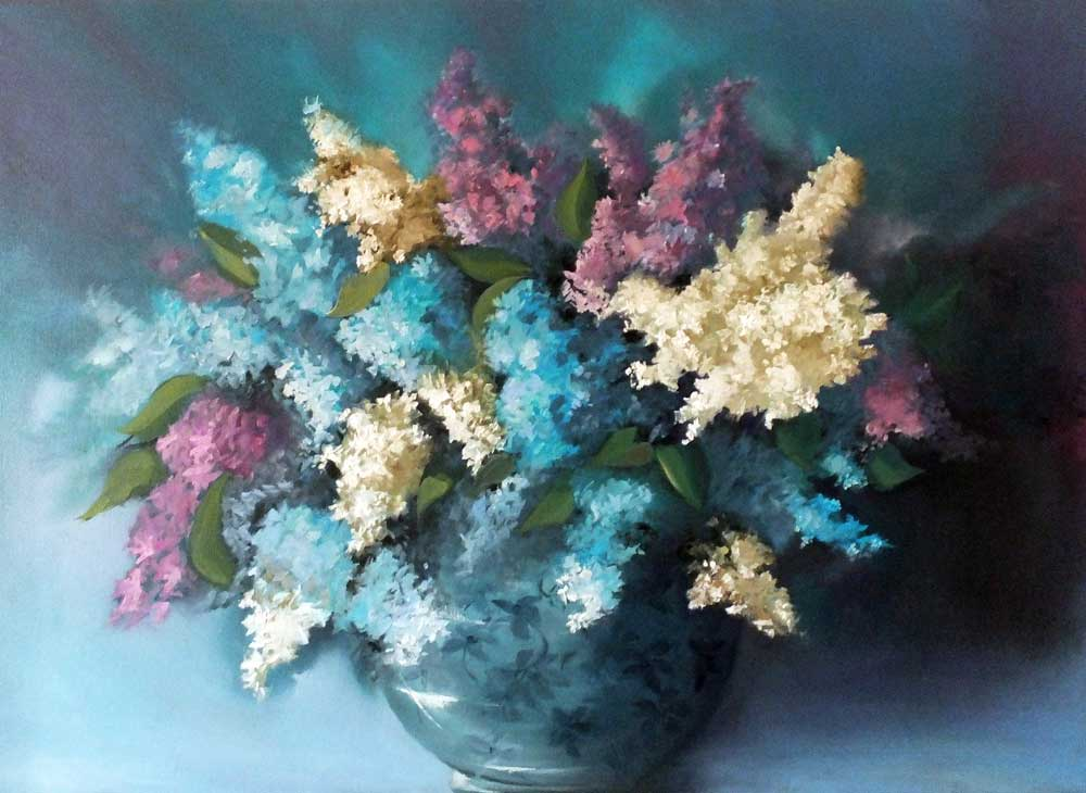 Lilacs in a Flowered Bowl