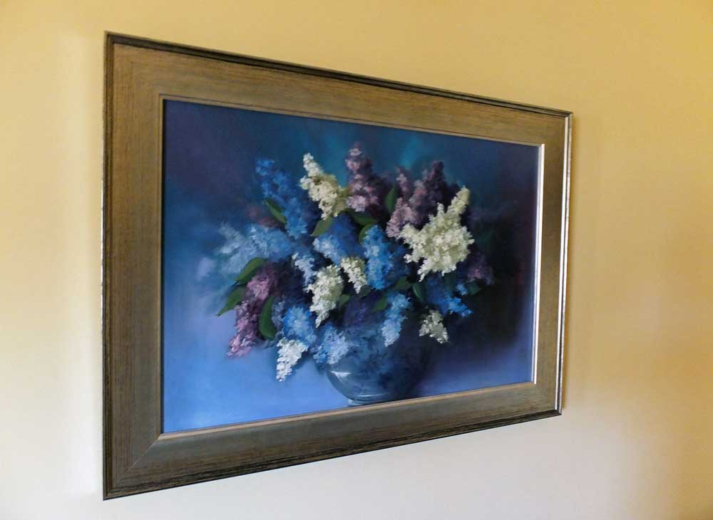 Lilacs in a Flowered Bowl - framed oil painting by Elizabeth Williams