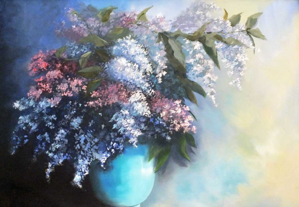Lilacs of Andalucia. Oil on panel, framed.