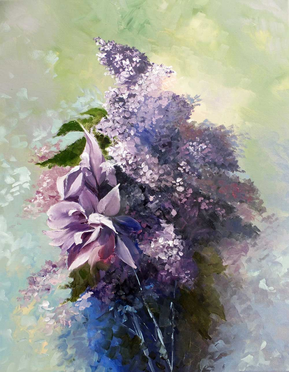 Iris and Lilacs. Oil painting on box canvas.