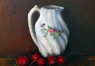 Jug and Cherries