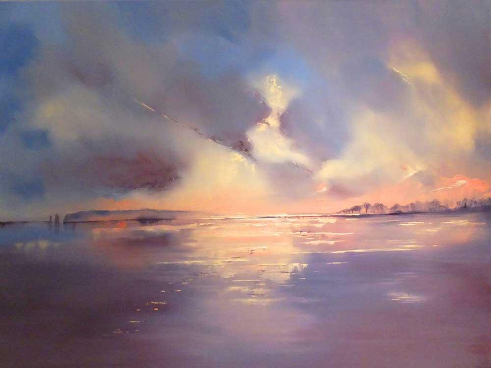 Twilight on Old Harry's Rocks, Dorset. Oil painted on box canvas