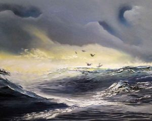 Hunting for Bass - Seascape by Elizabeth Williams