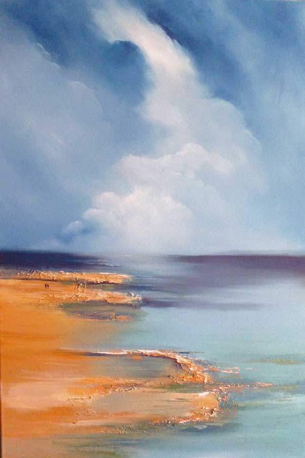 Heavenly - Oil Painting of couple walking along sandy beach