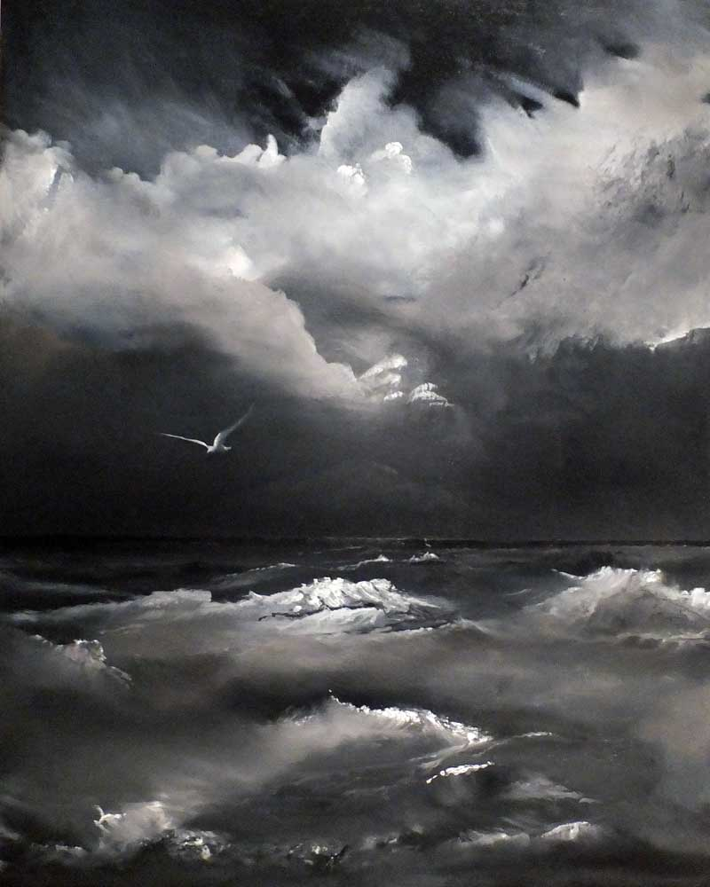 In Sea Salt. A monochromatic oil painting study of the ocean.