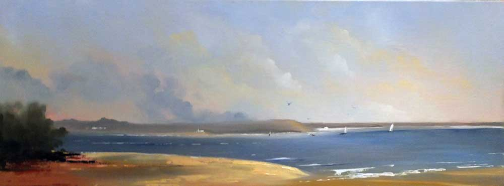 Oil Painting of Shell Bay, Studland, Dorset by Elizabeth Williams
