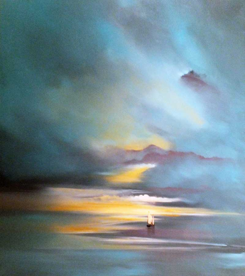 Tomorrow Never Comes. Sailing into a sunset seascape. Oil on linen painting