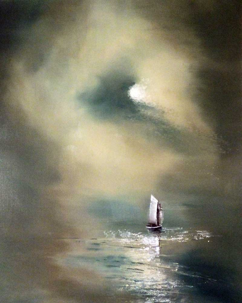 Oil Painting of Moonlit boat on the sea