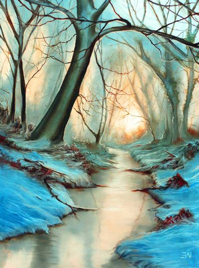 Woodland in Winter - landscape oil painting of English woodland in winter